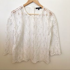 Piper 14 White Lace Sheer Blouse Top 3/4 Sleeve